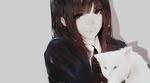 Обои Девушка с белой кошкой, by Aoi Ogata