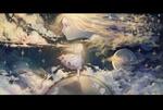 Обои Девушка с музыкальным инструментом стоит на планете, by Aki_a0623