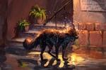 Обои Лиса на вечерней улице города под дождем, by AlaxendrA