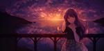 Обои Девушка стоит на мосту на фоне красивого заката, автор Hplay