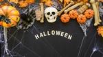 Обои Тыквы Джека, опавшие листья, тарантул, череп и кости в паутине на Хэллоуин (Halloween)
