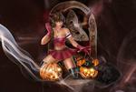 Обои Ведьма стоит на коленках перед светильниками, (Happy Halloween / Счастливого Хэллоуина), by Kajenna