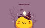 Обои Кавайный желтый чудик в ведьменской шляпе, из-за которой выглядывает привидение (Halloween / Хэллоуин)