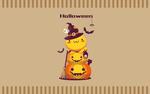 Обои Куча мала из кавайного чудика и двух светильников Джека, похожая на снеговика (Halloween / Хэллоуин)