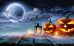 Обои Два светильника Джека стоят у фонаря и свечи на фоне летучих мышей в ночном небе, которые слетаются на полную Луну в ночь Хэллоуина / Halloween