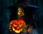 Обои Жуткая старуха-ведьма со светильником Джека в когтистых руках в ночном лесу