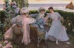 Обои Три молодые женщины отдыхают на террасе на берегу моря, картина художника Cordero Noticias