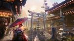 Обои Гейша под зонтом на улице японского города с пагодами и воротами тории, by Christopher Schiefer