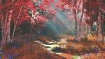 Обои Осенняя березовая роща в предутреннем тумане