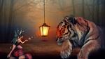 Обои Фея выпускает стрекоз, летящих на свет, к фонарю, за ней внимательно наблюдает лежащий тигр