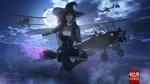 Обои Ведьма в Halloween / Хэллоуин летит на метле в ночном лунном небе на фоне воздушного боя самолетов, арт к игре War Thunder / Гром войны, by Dima Hibikirus&War Thunder