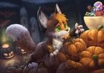 Обои Лисица Zukaro тянется к сладостям, стоящим на тыкве, by Silverfox5213