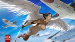 Обои Девушка-валькирия летит в небе среди японских истребителей, арт к игре War Thunder / Гром войны, by Dima Hibikirus&War Thunder
