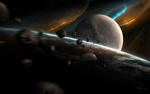 Обои Летящие астероиды среди планет, by Tobias Roetsch