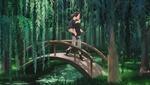 Обои Uchiha Itachi / Учиха Итачи несет на спине Uchiha Sasuke / Учиха Саске через мост в лесу из аниме Наруто / Naruto, by Blackmarlb0r0