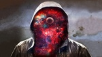 Обои Под капюшоном человека вместо лица видна галактика