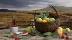 Обои Яблоки в корзине и малина в блюдце и чашке стоят на дощатой поверхности на фоне природы, by Svetlana Rastegina