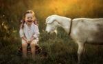 Обои Смеющаяся девочка рядом с белой козой, фотограф Олеся Ракитова