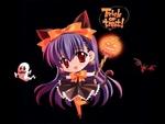 Обои Кавайная маленькая девочка Motoka Kawakabe с хвостом и ушками с тыквой, призраком и летучей мышью на черном фоне из манги Touka Gatta (Halloween / Хэллоуин) Trick or treat, by Carnelian
