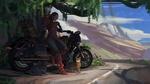 Обои Девушка в футуристическом костюме у мотоцикла с двумя кошками, by Jinheng LI
