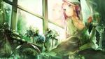 Обои Девушка с кружкой сидит у окна, а сидящая рядом сова читает книгу, автор Minami Mofuko