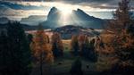 Обои Первые лучи восходящего из - за горы солнца освещают красивый осенний пейзаж, фото Max Rive