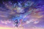 Обои Дети с котом смотрят на звездное ночное небо, by muddymelly