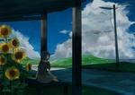 Обои Девушка сидит на скамейке рядом с подсолнухами, by dayflower