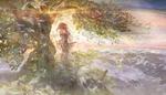 Обои Девушка у дерева смотрит на природу, by muddymelly