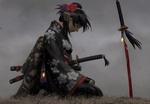 Обои Девушка-самурай сидит на коленях рядом с окровавленной катаной, воткнутой в землю, by GUWEIZ