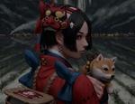 Обои Девушка с маской демона держит на руках собачку породы акита-ину, на фоне жилого поселения ночью, by GUWEIZ