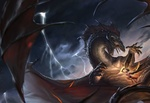 Обои Шумерская богиня Иштар сражается с черным драконом, by Rudy Siswanto