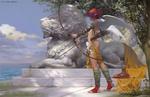 Обои Девушка-ангел с луком стоит на страже у каменной статуи льва, by Wei Feng
