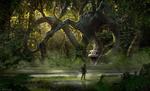 Обои Огромный монстр на дереве смотрит на солдата, арт к фильму Kong: Skull Island / Конг: Остров черепа, by Karl Lindberg