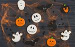 Обои Печенье в виде тыкв, привидений и летучих мышей к Хэллоуину / Halloween (Boo)
