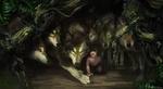 Обои Маленький Маугли среди волчьей стаи, арт к фильму The Jungle Book / Книга джунглеи, by Karl Lindberg