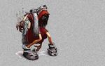 Обои Красная Шапочка в шкуре волка на сером фоне