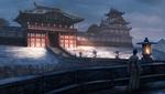 Обои Мужчина в кимоно идет к замку, Japan / Япония, by Edward Baron