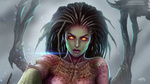 Обои Sarah Kerrigan-Queen of Blades / Сара Керриган-Королева Клинков из игры StarCraft Brood War, by Prywinko