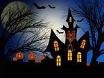 Обои Светильники Джека на фоне силуэта дома со скелетом и летучие мыши