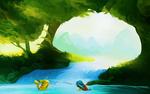 Обои Pikachu / Пикачу и Squirtle / Сквиртл из аниме Pokemon / Покемон, by andrework
