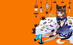 Обои Девочка в образе кошки сидит на полу в окружении конфет и черных кошек, (Happy Halloween / Счастливого Хеллоуна)