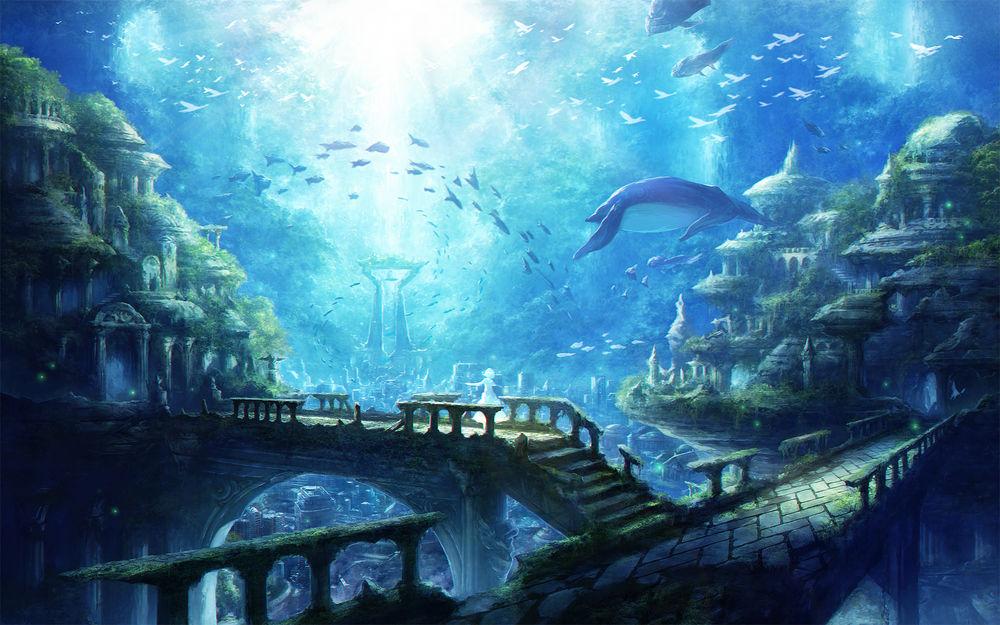 Обои для рабочего стола Девушка стоит в древнем городе под водой среди обитателей океана