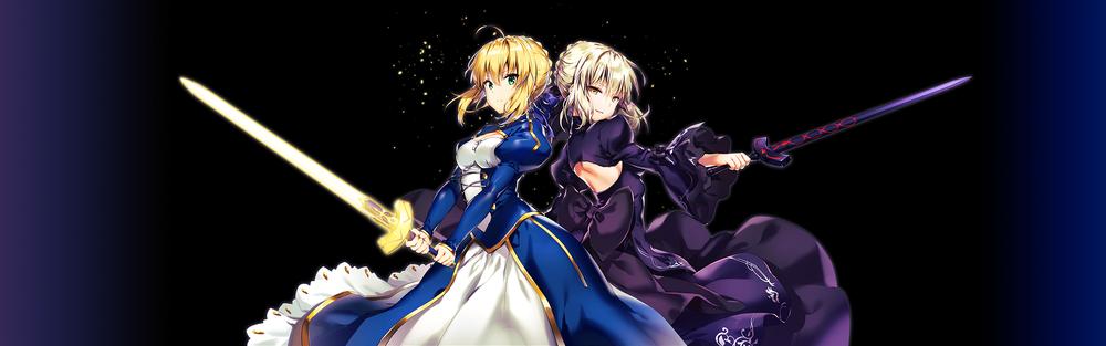 Обои для рабочего стола Сейбер / Сэйбер / Saber и Сейбер Альтер / Saber Alter / Dark Saber из серии аниме и визуальных новелл Fate / stay night, стоят с мечами спиной к спине
