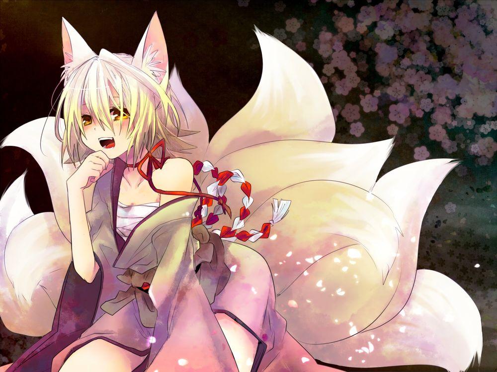Обои для рабочего стола Vocaloid Kagamine Rin / вокалоид Кагамине Рин в образе многохвостой лисы
