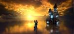 Обои Парочка, танцующая на поверхности озера рядом с сияющим освещенными окнами домом, закат, by Stefan Keller