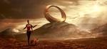 Обои Девушка с лисой, холм с монументом на заднем плане, выглядывающее из-за туч солнце, by Stefan Keller