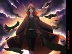 Обои Uchiha Itachi / Учиха Итачи в плаще Akatsuki на фоне грозового неба и воронья из аниме Наруто / Naruto