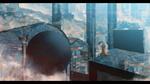 Обои Рогатая девушка сидит на крыше дома фантастического города