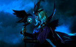 Обои Косплей-модель Fosya в образе Ravenborn LeBlanc / Рэйвенборн Леблан из игры League of Legends / Лига Легенд, by Aku